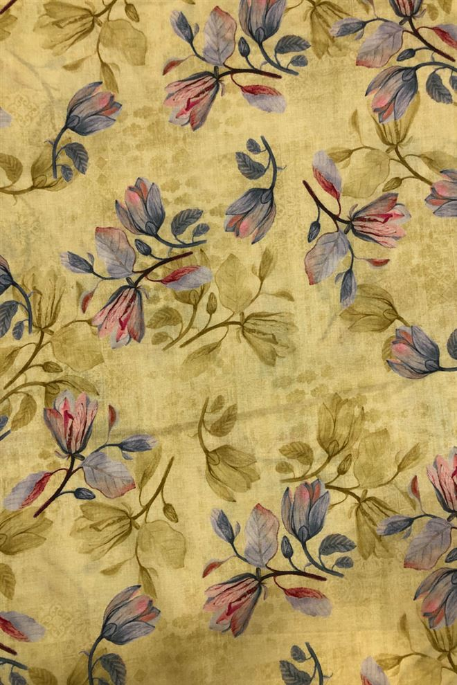 Graceful Green color floral cotton fabric