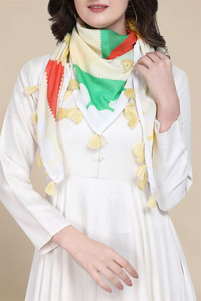 Abstract Print Cream Color Pure Cotton Scarf