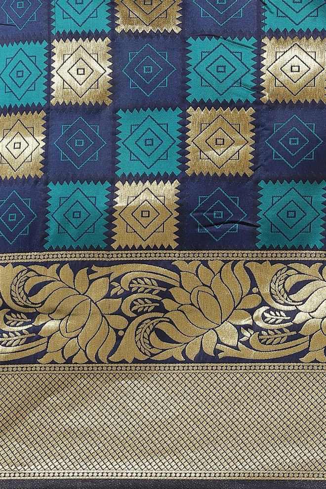 Blue Color Banarasi Jacquard Silk Saree