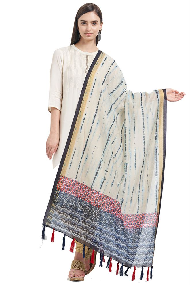 Chanderi Cream Color Designer Dupatta With Fancy Printed Work