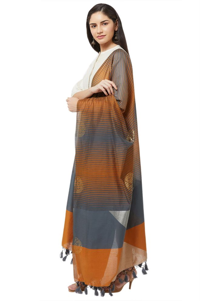 Faserz Mustard And Grey Woven Matka Silk Jamdani Dupatta