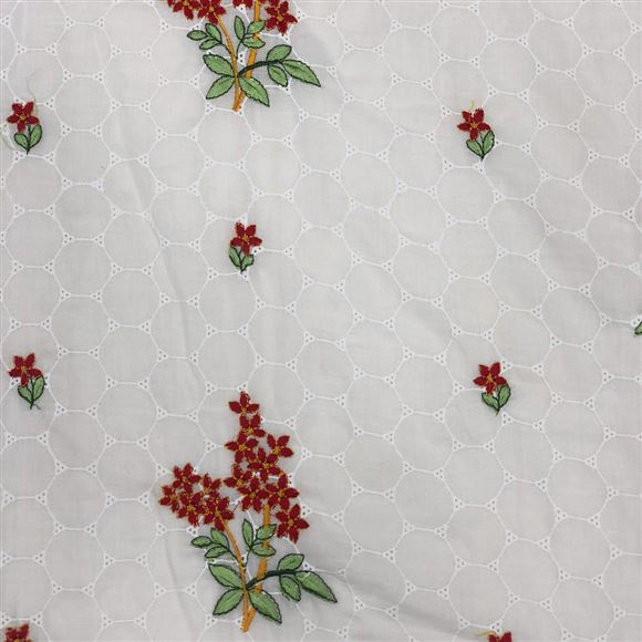 Cotton Rich Butta Embroidered Red And White Color Fabric