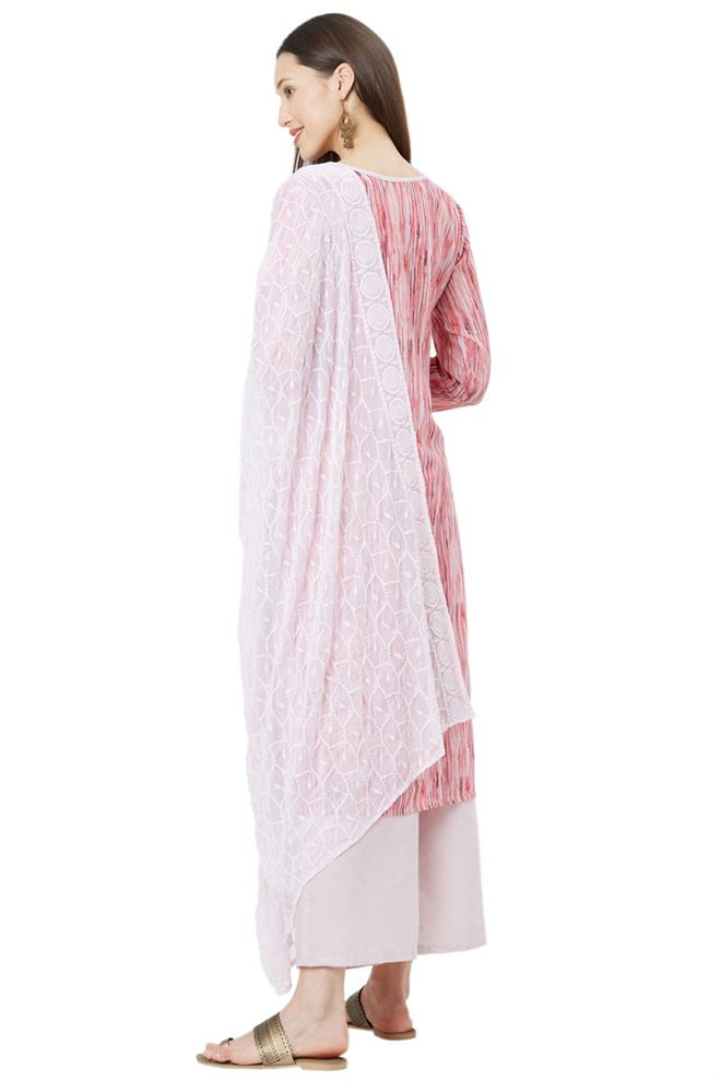 Cute Baby Pink Color Unstitched Muslin Suit Dupatta