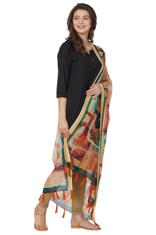 Glamorous Chanderi Silk Light Mustard Color Designer Abstract Print Dupatta