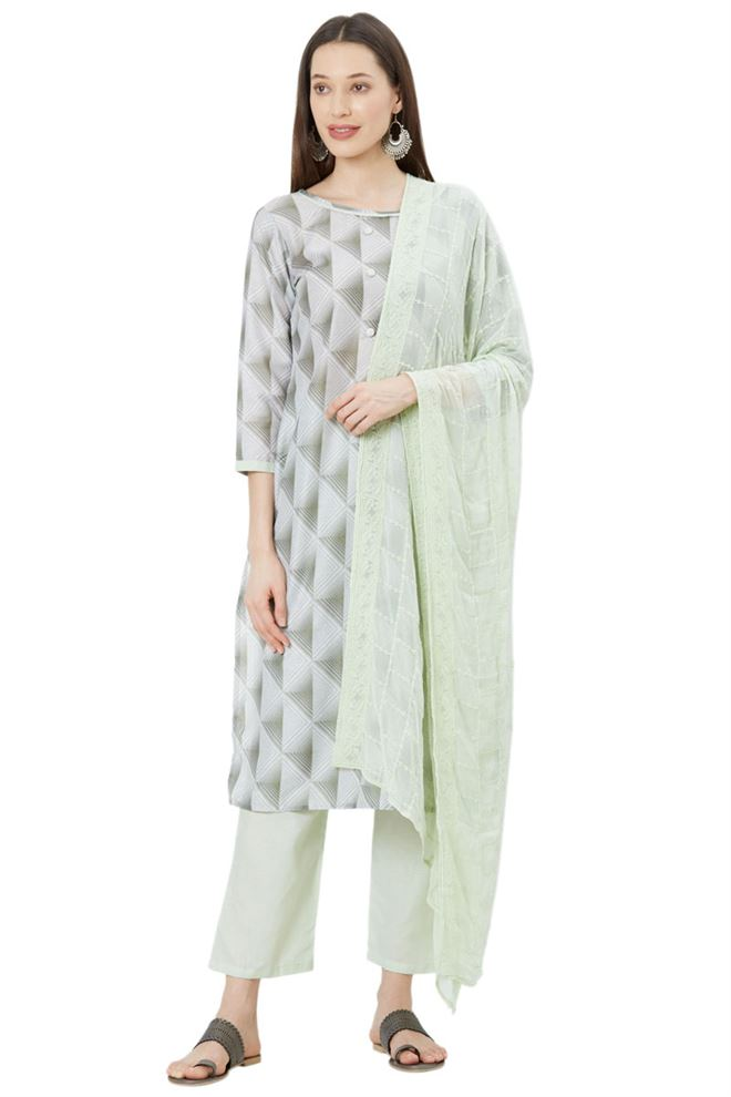 Earthy Light Green Color Unstitched Muslin Suit Dupatta