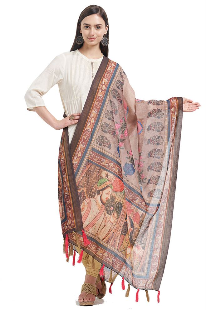 Fancy Printed Designs On Chanderi Copper Color Function Wear Dupatta