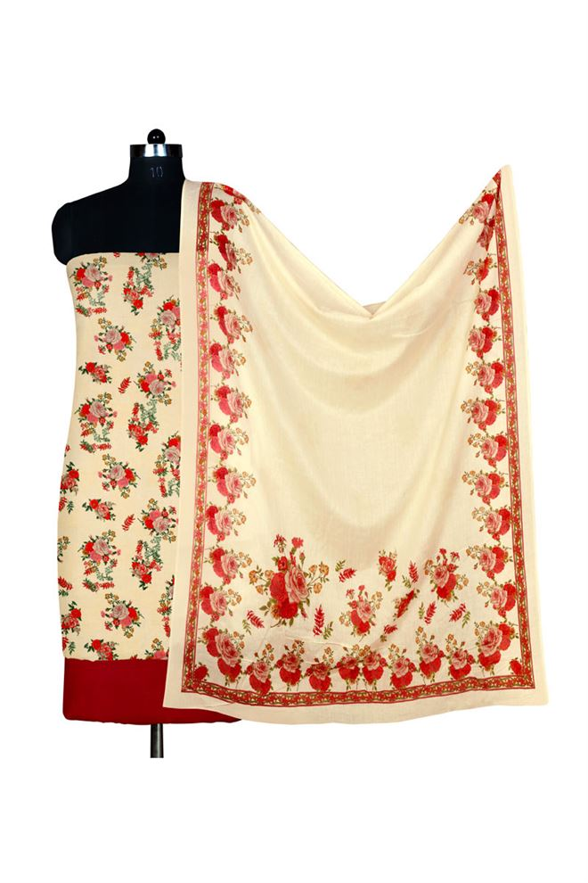 Beige And Red Color Unstitched Printed Cotton Suit Dupatta