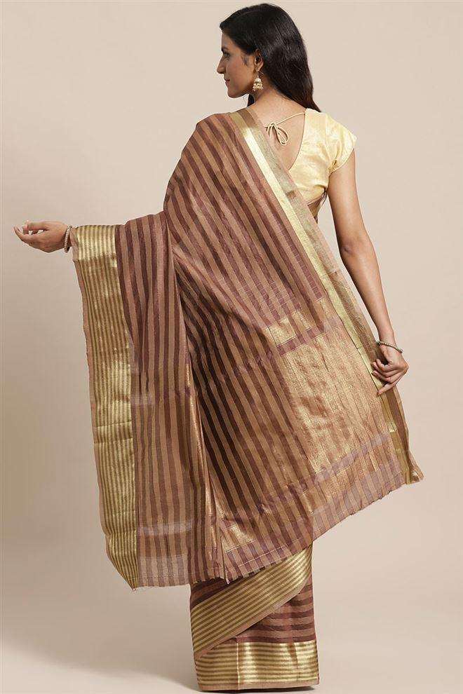 Faserz Brown Color Checked Chanderi Silk Saree
