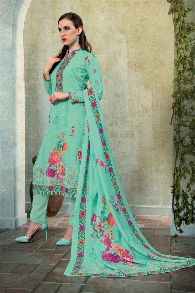 Cyan Color Cotton Fabric Fancy Printed And Embroidery Work Designer Salwar Kameez