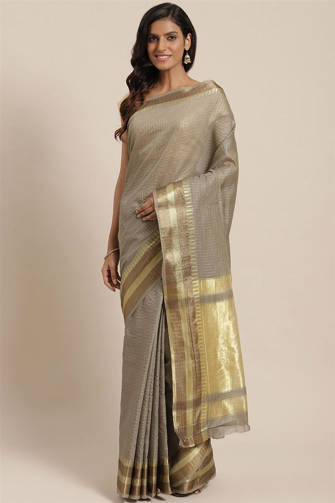 Faserz Grey Color Checked Chanderi Silk Fabric Saree