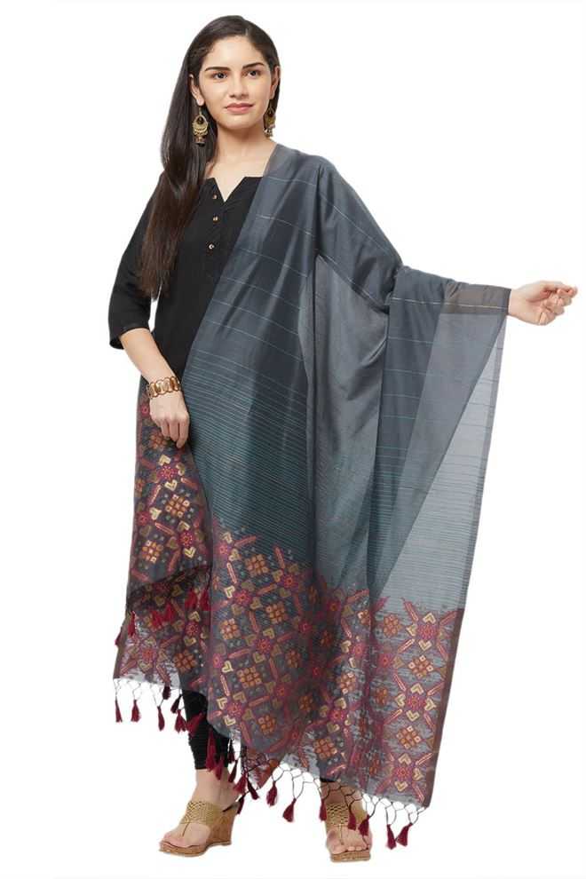 Faserz Grey Color Zari Weaving Pallu Woven Matka Silk Jamdani Dupatta