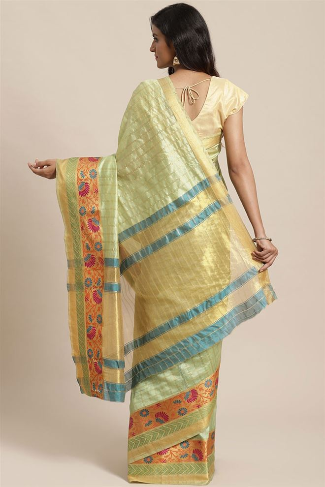 Faserz Light Green Color Silk Fabric Saree