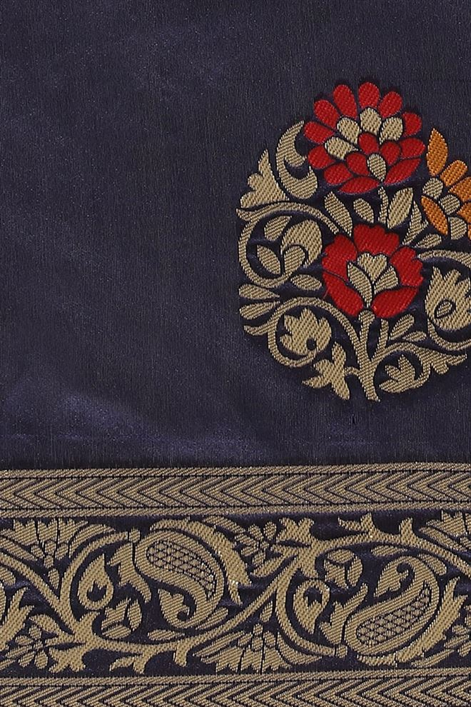 Faserz Navy Blue Color Designer Saree In Banarasi Silk Fabric