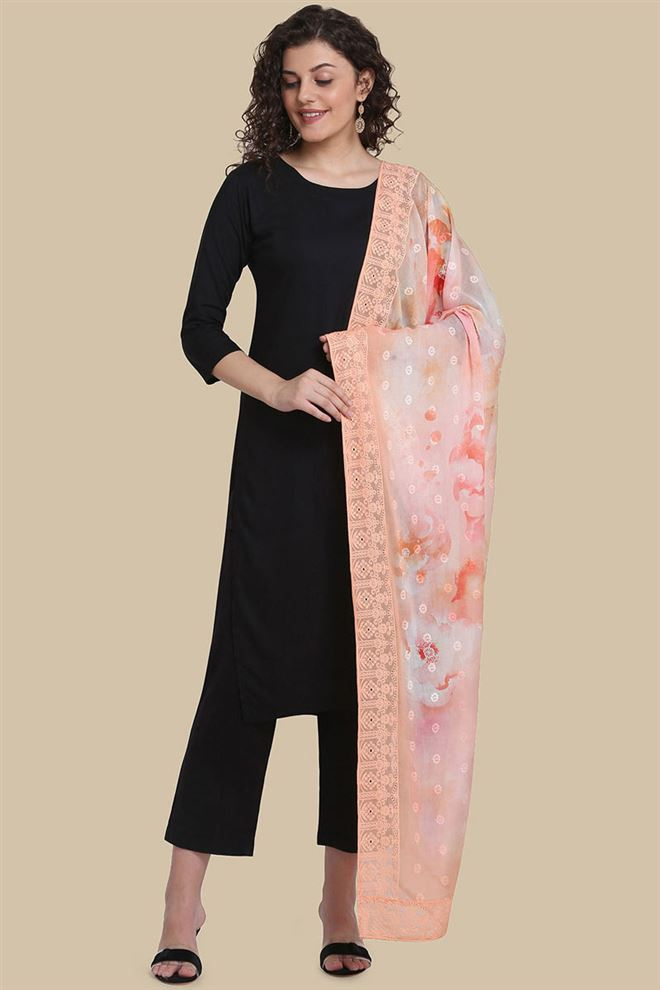Peach Color Cotton Fabric Embroidery And Printed Fancy Dupatta
