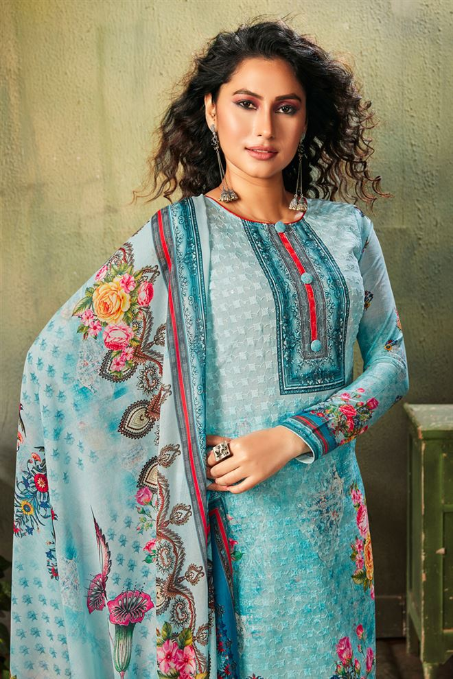 Sky Blue Color Printed Cotton Fabric Casual Salwar Kameez