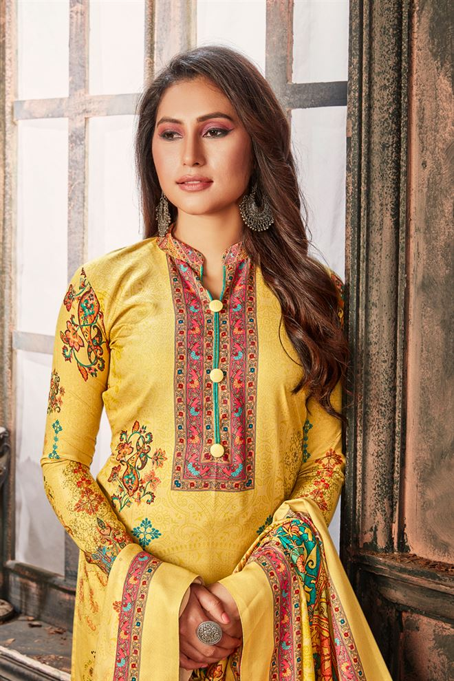 Yellow Color Cotton Fabric Function Wear Designer Printed Palazzo Salwar Kameez