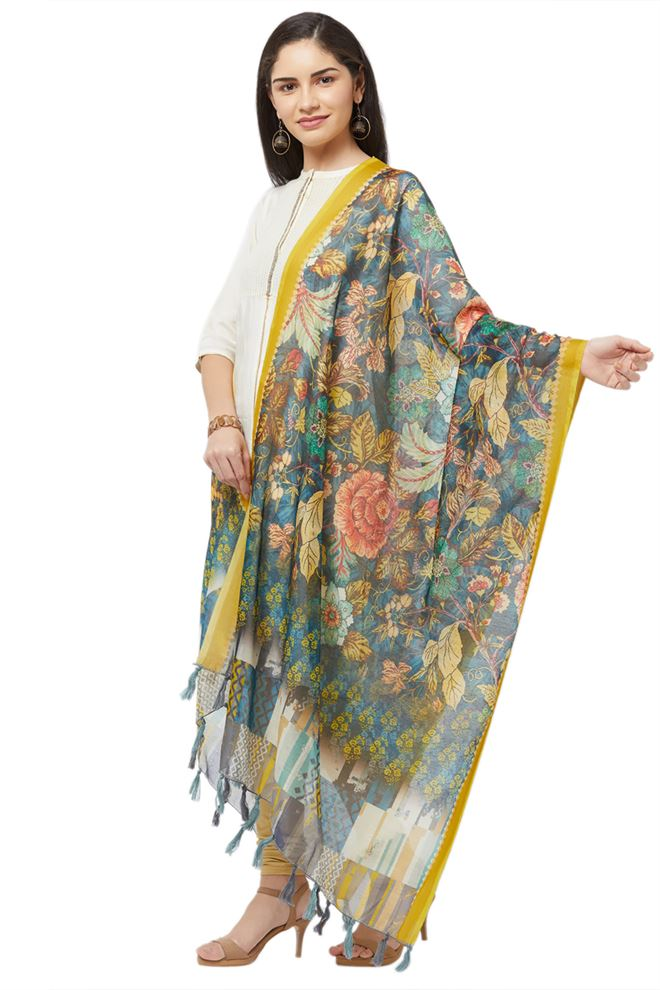 Floral Print Blue Color Chanderi Silk Dupatta