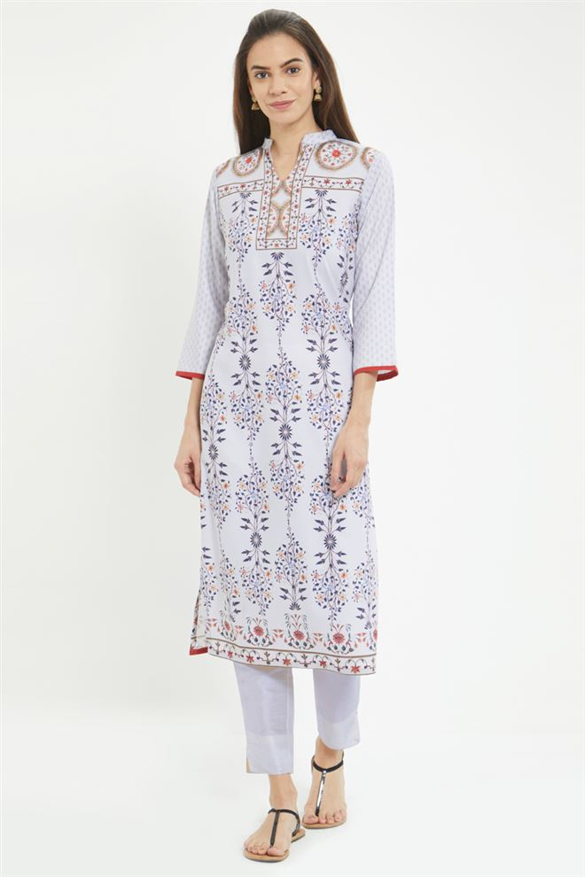 Floral Prints On Prime Rayon Fabric Temple Wear Off White Color Kurti