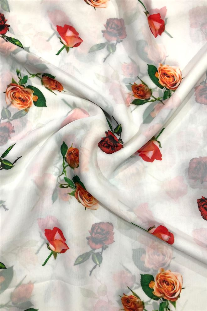 Off White Color Floral Digital Print Georgette Fabric