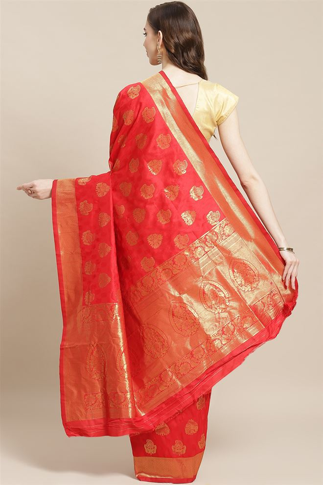 Red Color Banarasi Jacquard Silk Weaving Work Saree