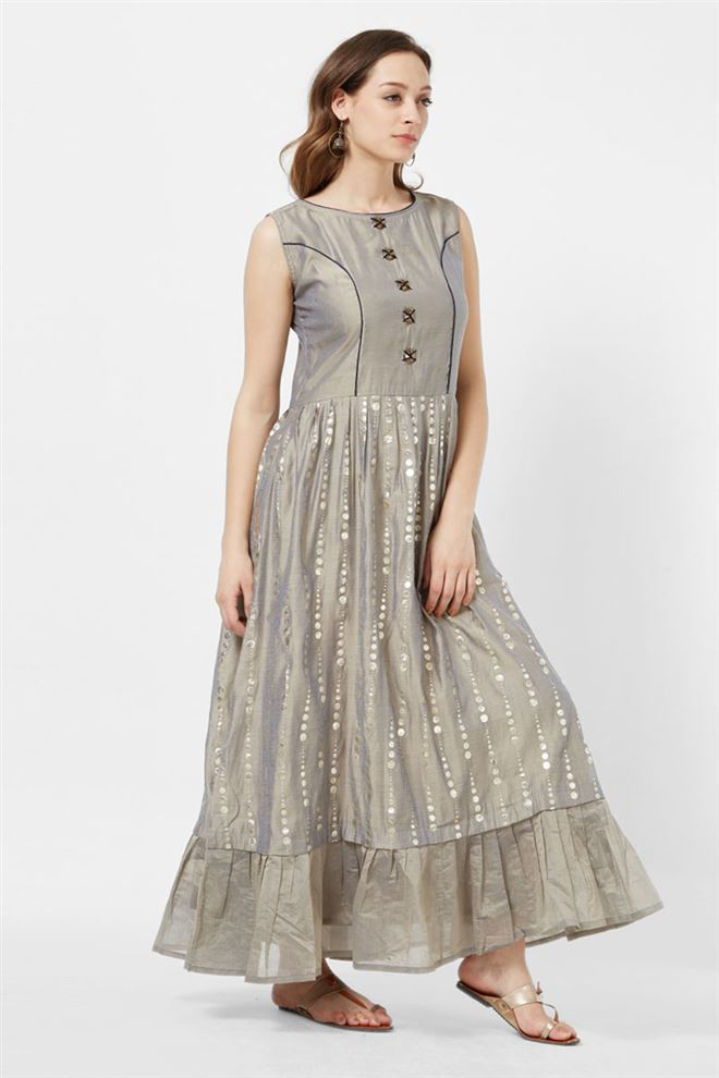 Gleaming Grey Color Evening Wear Fancy Kurti In Viscose Fabric