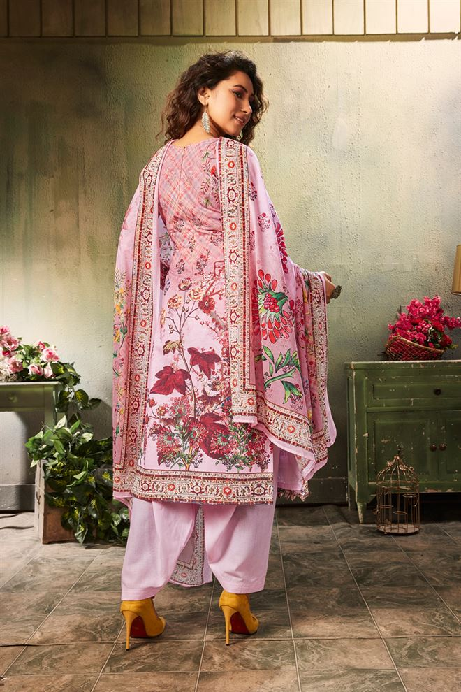 Pink Color Printed Cotton Fabric Casual Salwar Kameez
