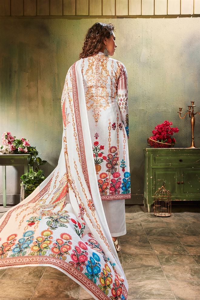 White Color Printed Cotton Fabric Casual Salwar Kameez