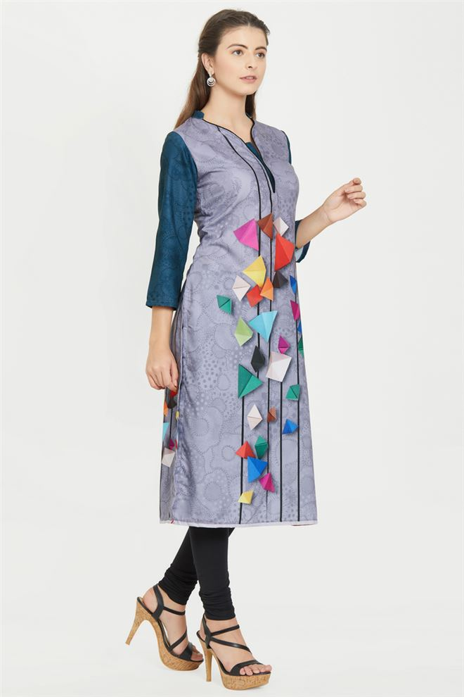 Mesmeric Abstarct Print Work Prime Rayon Kurti in Grey And Blue Color