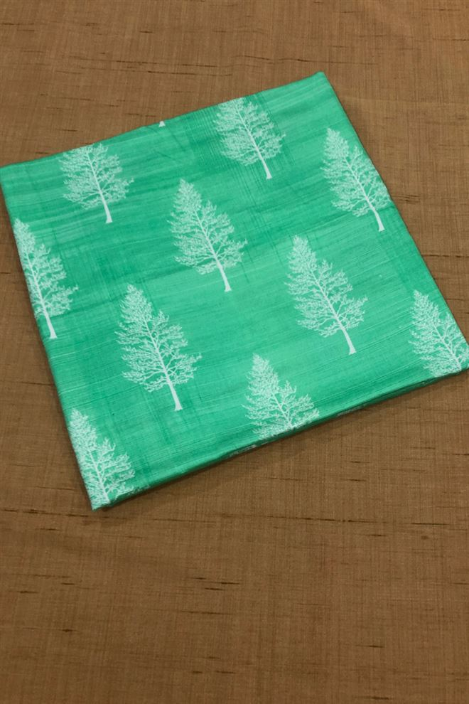Pastel Green Color Cotton Satin Tree Print Fabric