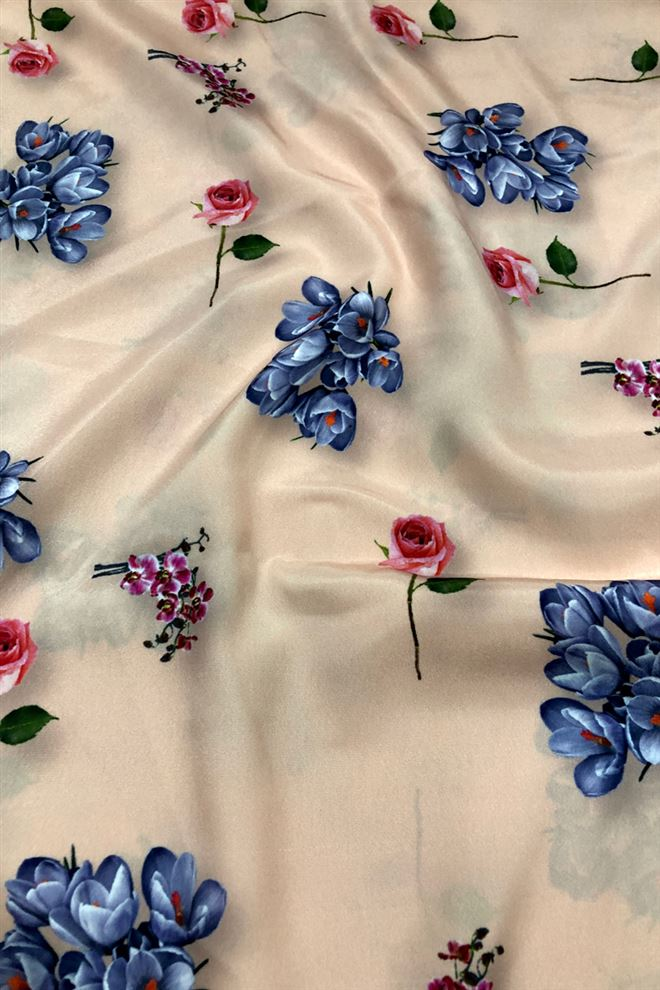 Peach Color Floral Print Crepe Fabric