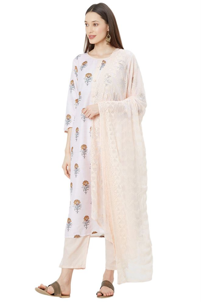 Heavenly Peach Color Unstitched Muslin Suit Dupatta