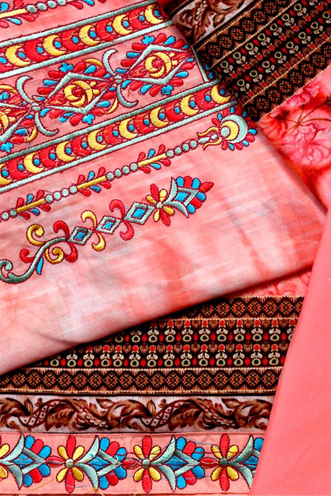 Pink color cotton voile embroidered digital print suit dupatta