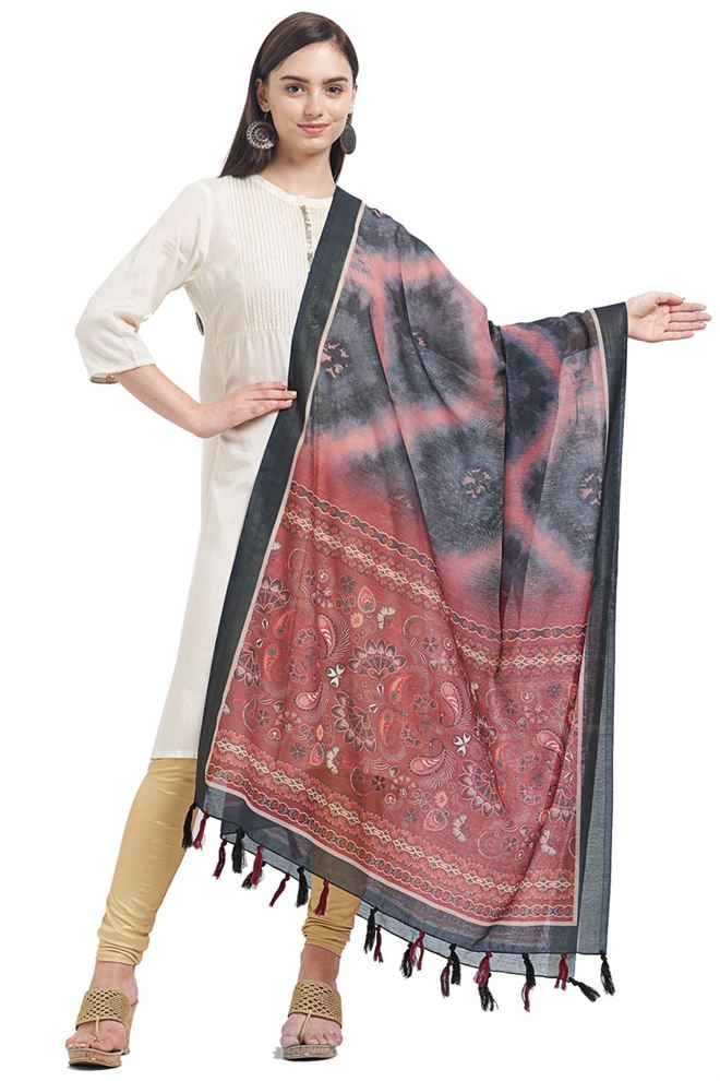 Rust Color Chanderi Party Wear Dupatta With Fancy Printed Work