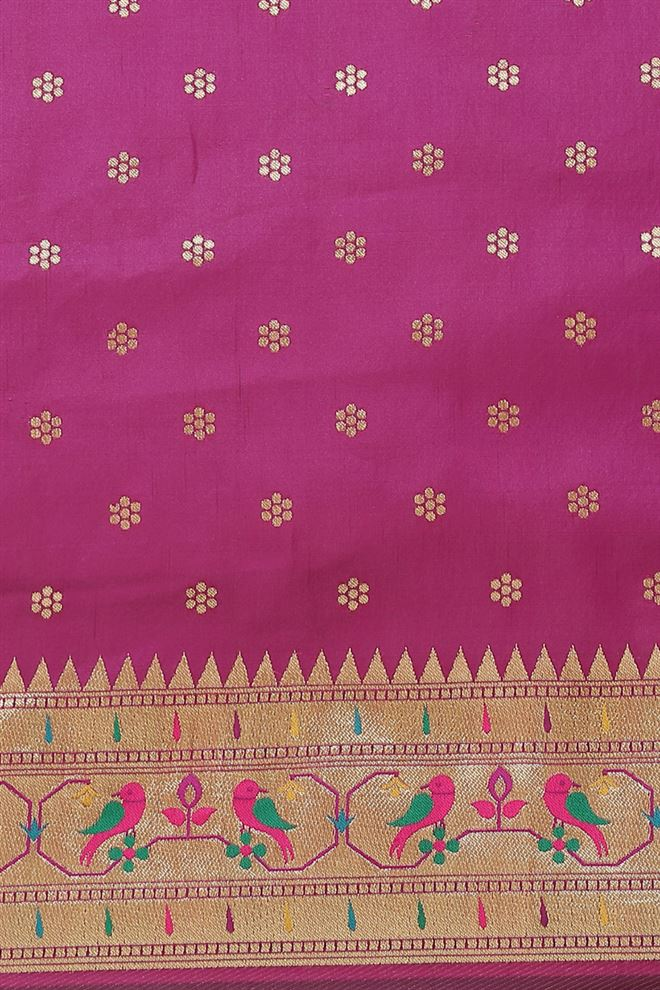 Purple Color Banarasi Jacquard Silk Saree